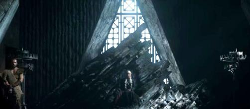 Game of Thrones spoilers: Daenerys on a rocky throne. Screencap: Game of Thrones via YouTube