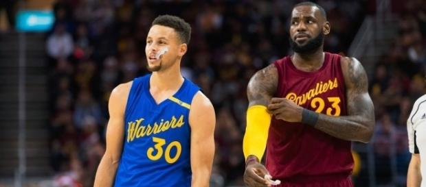 Stephen Curry and Lebron James in the Christmas Day 2016 Game between the Cleveland Cavaliers and Golden State Warriors
