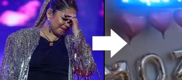 A cantora Marília Mendonça acabou se emocionando com surpresa feita pelo noivo ( Foto: Youtube/Instagram)