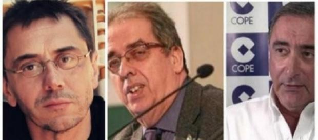 Juan Carlos Monedero, Santiago González y Carlos Herrera.