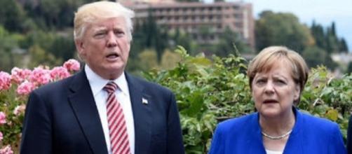 Donald Trump ed Angela Merkel al recente G7 di Taormina