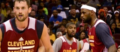 Kevin Love (left), Kyrie Irving (middle), and LeBron James (right) of the Cleveland Cavaliers - (Via google images free to use - Wikiimedia)