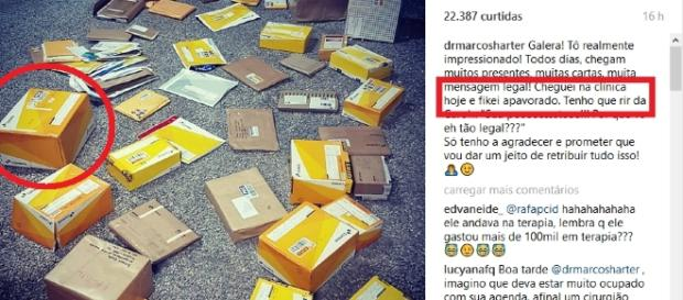 Dr. Marcos recebe presente de fãs. Foto: Instagram