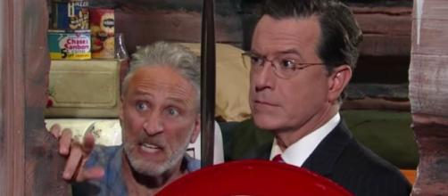 """A still from an early appearance of Jon Stewart on Colbert's """"The Late Show"""" / BN Photo Library"""
