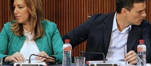 Pedro Sánchez y Susana Díaz en una congreso socialista.
