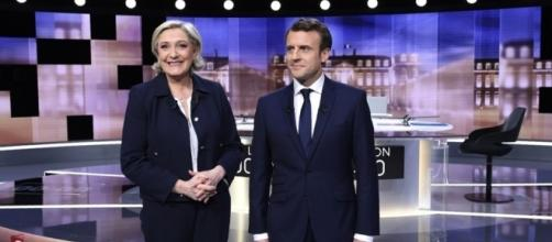The calm before the storm: Marine Le Pen (L) and Emmanuel Macron (R) in their last debate. - scmp.com