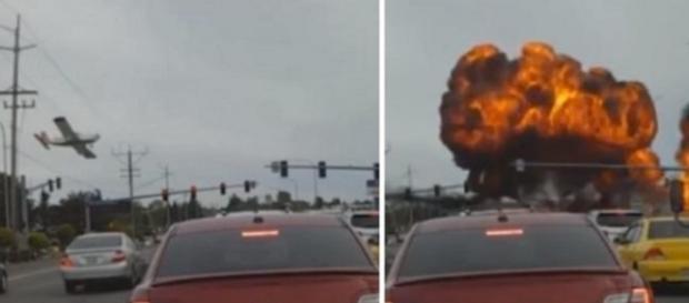 Explosão de avião foi vista em tempo real