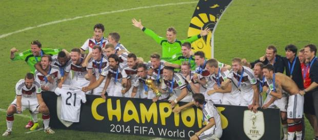 Germany celebrates their World Cup victory in Brazil, in 2014 (via wikimedia commons)