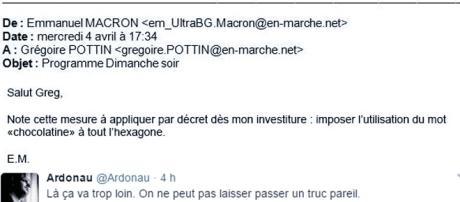 Un faux manifeste, plutôt cocasse et moqueur, trouvé sur la page Twitter #MacronLeaks (qui en contient d'autres)