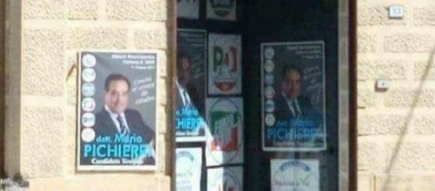 La sede del comitato elettorale di Mario Picherri, appoggiato da PD e Forza Italia