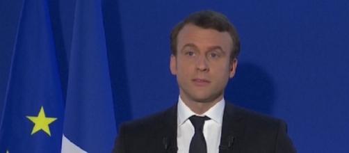 Emmanuel Macron en su discurso como presidente electo