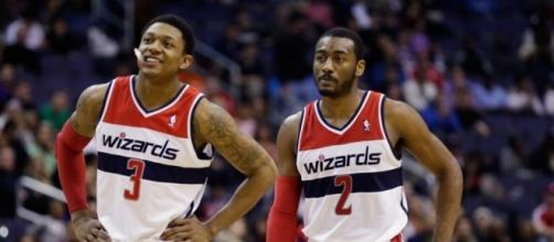 John Wall and Bradley Beal will try to tie up their series with Boston on Sunday. [Image via Blasting News image library/thebiglead.com]