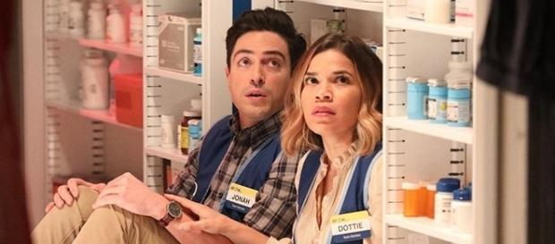 Moments before their kiss, Amy and Jonah were contemplating the thought of dying in a Cloud 9, surrounded by diarrhea medicine. (via SpoilerTV/NBC)