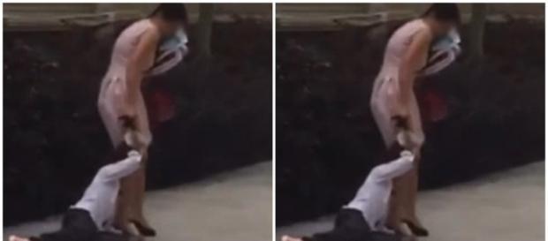 Mulher é flagrada arrastando criança pelo cabelo