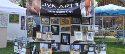 JoAnn Krapp is an artist and author who promotes her work at many festivals and fairs. / Photo via JoAnn Krapp, used with permission.