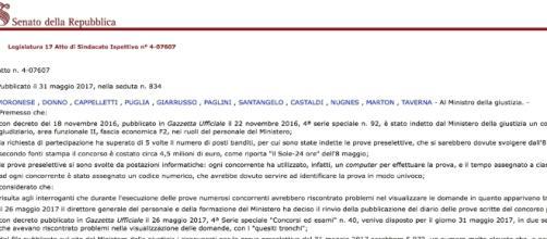 Concorso 800 assistenti giudiziari, c'è l'interrogazione parlamentare (http://www.senato.it)