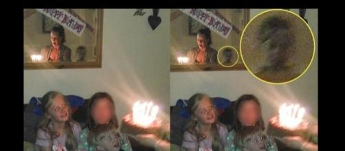 Fantasma apareceu em foto da família (Foto: Reprodução)