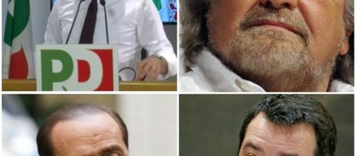 Renzi, Grillo, Berlusconi e Salvini, i quattro leader dei partiti che hanno raggiunto l'accordo