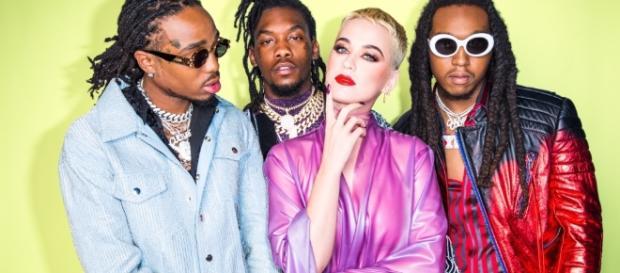 "Katy Perry mit Migos: Sie singen den Hit ""Bon Appétit""; Fotos: Rony Alwin / Universal Music, Capitol Records"