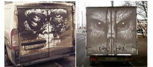 Obras de arte feitas com sujeira de carro