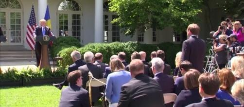 WAPO reporter asking Trump questions about Comey hearing. / Photo by Washington Post via YouTube: https://youtu.be/GrvzlJTGKIE