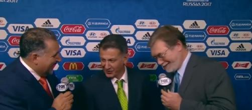 Mexico coach Osorio reacts to the draw | 2017 FIFA Confederations Cup Draw/ screencap Fox Soccer via YouTube
