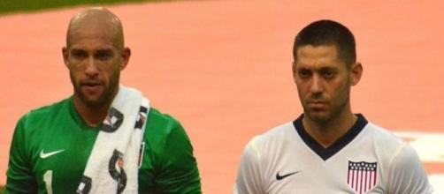 Team USA's Tim Howard and Clint Dempsey should figure heavily in today's World Cup qualifying game against Mexico. [Image via Wikimedia Commons]