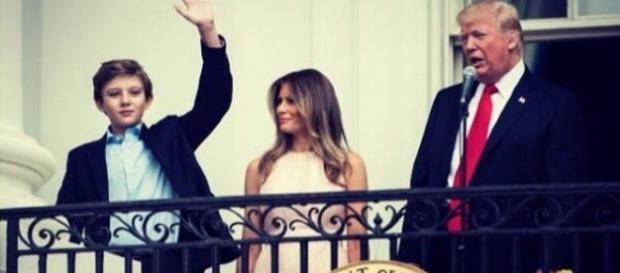 :Barron, Melania, and Donald Trump 2017/ CCO Public Domain the White House via Wikimedia