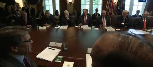 President Trump's first cabinet meeting at White House. / Image by The White House channel via YouTube:https://youtu.be/NTm4IwnfNH0
