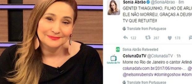 A apresentadora acabou cometendo um erro ao anunciar morte de Arlindo Cruz ( Foto - Twtter )