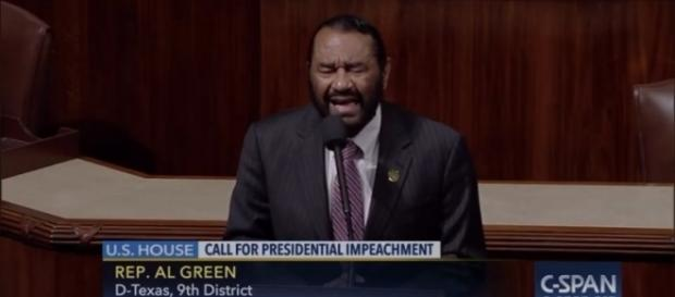 Rep. Al Green (D-TX.) calls for impeachment of President Trump. / Image by -C-SPAN via YouTube:https://youtu.be/F9Au1cwXN8M