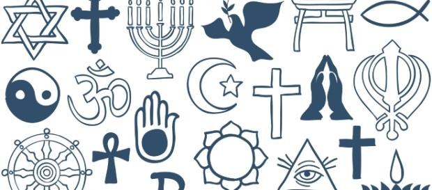 Representation of the worlds religious symbols.