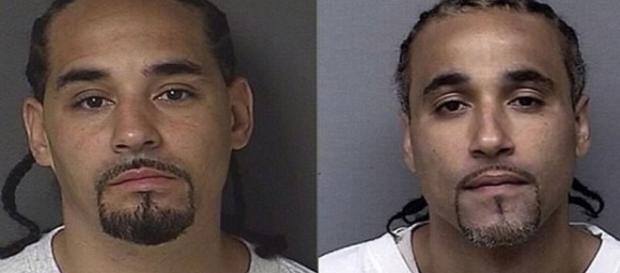 Richard Jones, à direita da tela, foi solto após autoridades encontrarem seu doppelganger, Ricky, à esquerda (New York Post)