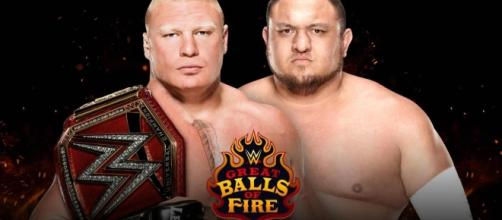 Brock Lesnar and Samoa Joe faced off for the first time on Monday Night RAW - Image via Blasting News image library/metro.co.uk