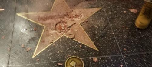 There has been reports of vandalism on Trump's Walk of Fame star. Photo via Dark Horse News, YouTube.
