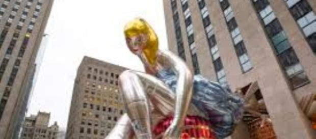 "Jeff Koons' ""Seated Ballerina,"" Rockefeller Center, NY. FAIR USE times.com Creative Commons"