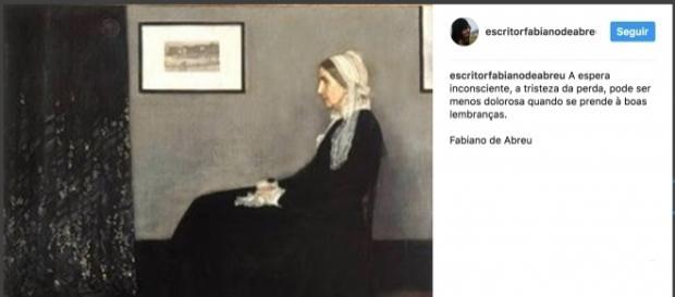 Post do escritor Fabiano de Abreu na sua rede social. (Foto: Reprodução Instagram)