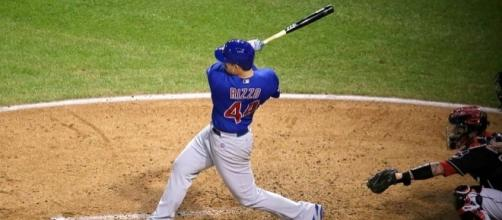 Cubs first baseman Anthony Rizzo swings at a pitch during World Series Game 7 - Arturo Pardavila III via Wikimedia Commons