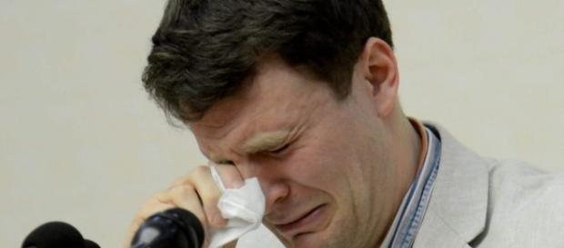 Otto Warmbier during his 2016 court confession and sentencing. He fell into a botulism coma sometime afterwards. - com.au