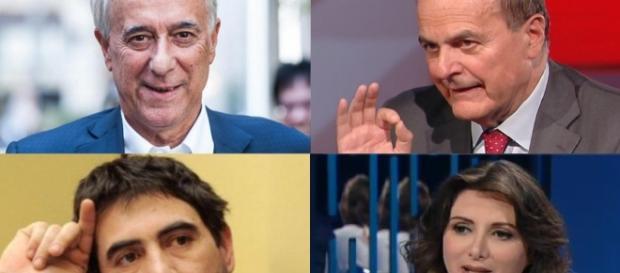 Sopra Pisapia e Bersani, fra i promotori dell'assemblea del 1° luglio; sotto Fratoianni e Falcone, che si riuniscono il 18 giugno