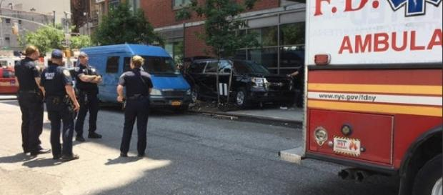 An SUV has jumped the curb and plowed onto a sidewalk in midtown -Twitter/@NBCNewYork
