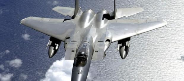 Close-up photo of the F-15 fighter jet