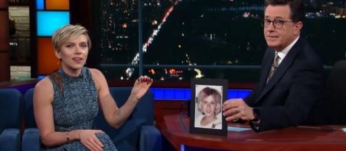 Photo Scarlett Johansson and Stephen Colbert screen capture from YouTube video/The Late Show with Stephen Colbert