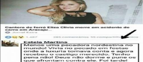 Internauta religiosa se alegra com a morte da cantora de forró