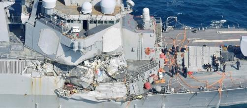 USS Fitzgerald held the bodies of those missing sailors inside flooded compartments of the ship. Photo: Blasting News Library -