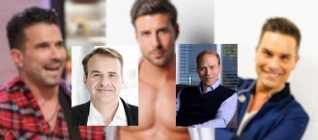 Endemol-Chef Marcus Wolter (li.) und Sat.1 Boss Kaspar Pflüger (re.) - hinten Marc Terenzi, Leonard Freier und Eloy / Fotorechte am Textende