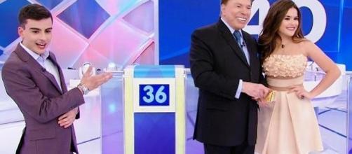 Maísa e Dudu Camargo participaram do programa de Silvio Santos (Foto: Captura de vídeo)