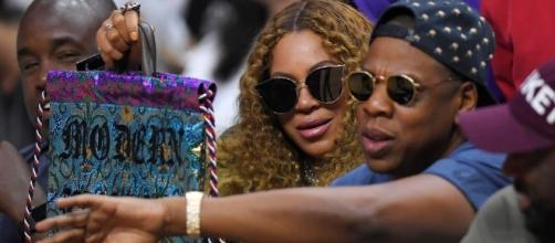 Jay Z and heavily-pregnant wife Beyonce ... Photo via Entertainment Tonight/YouTube