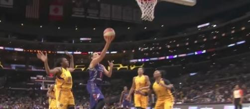 The Mercury's Diana Taurasi moved into the top spot on the WNBA's all-time scoring list on Sunday night. [Image via WNBA/YouTube]