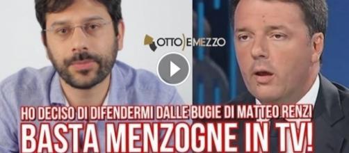 Un fermo immagine del video con cui Angelo Tofalo annuncia querela contro Matteo Renzi